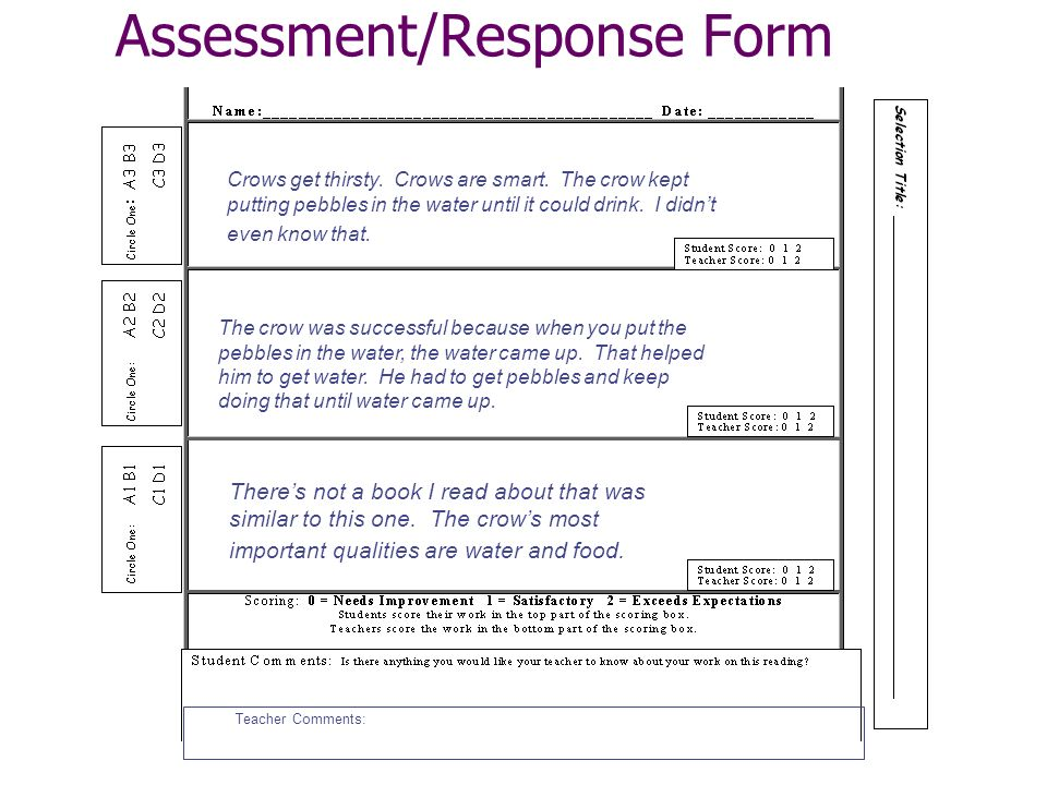 Assessment/Response Form Teacher Comments: Theres not a book I read about that was similar to this one.