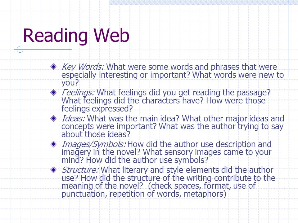 Reading Web Key Words: What were some words and phrases that were especially interesting or important.