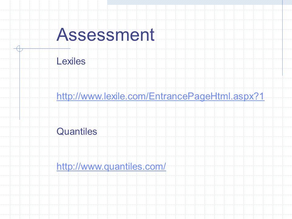 Assessment Lexiles http://www.lexile.com/EntrancePageHtml.aspx 1 Quantiles http://www.quantiles.com/