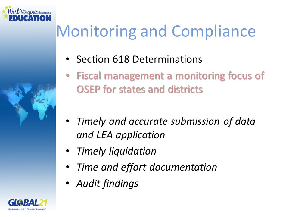 Monitoring and Compliance Section 618 Determinations Fiscal management a monitoring focus of OSEP for states and districts Fiscal management a monitor
