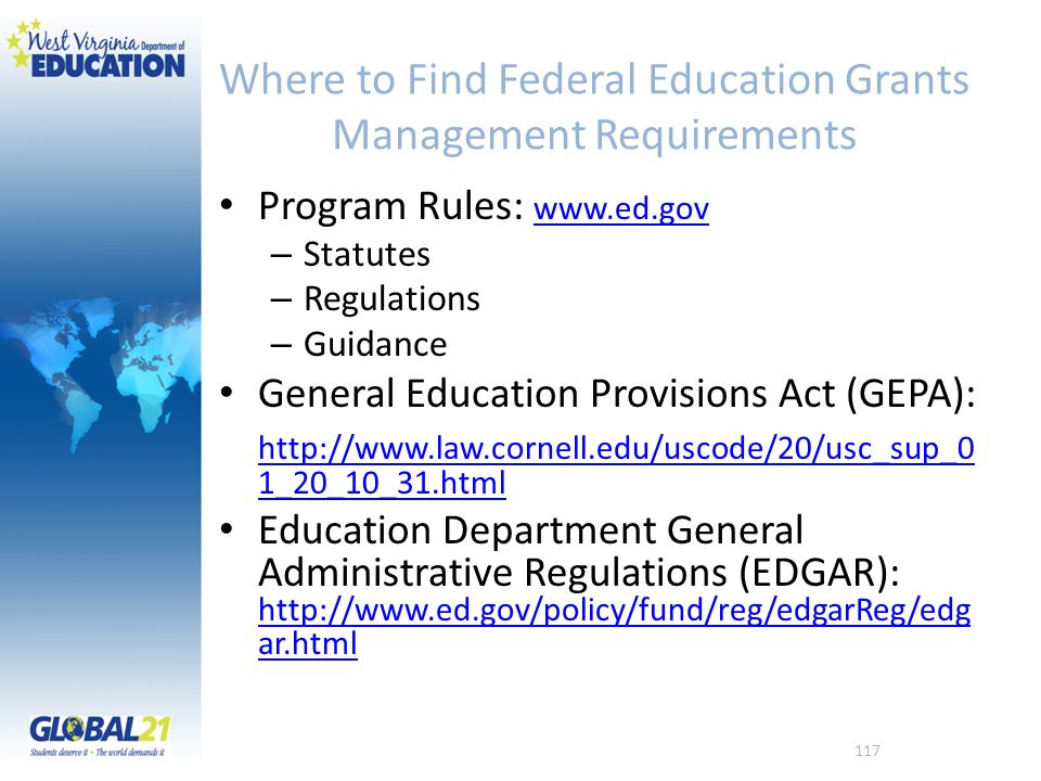 Where to Find Federal Education Grants Management Requirements Program Rules: www.ed.gov www.ed.gov – Statutes – Regulations – Guidance General Educat