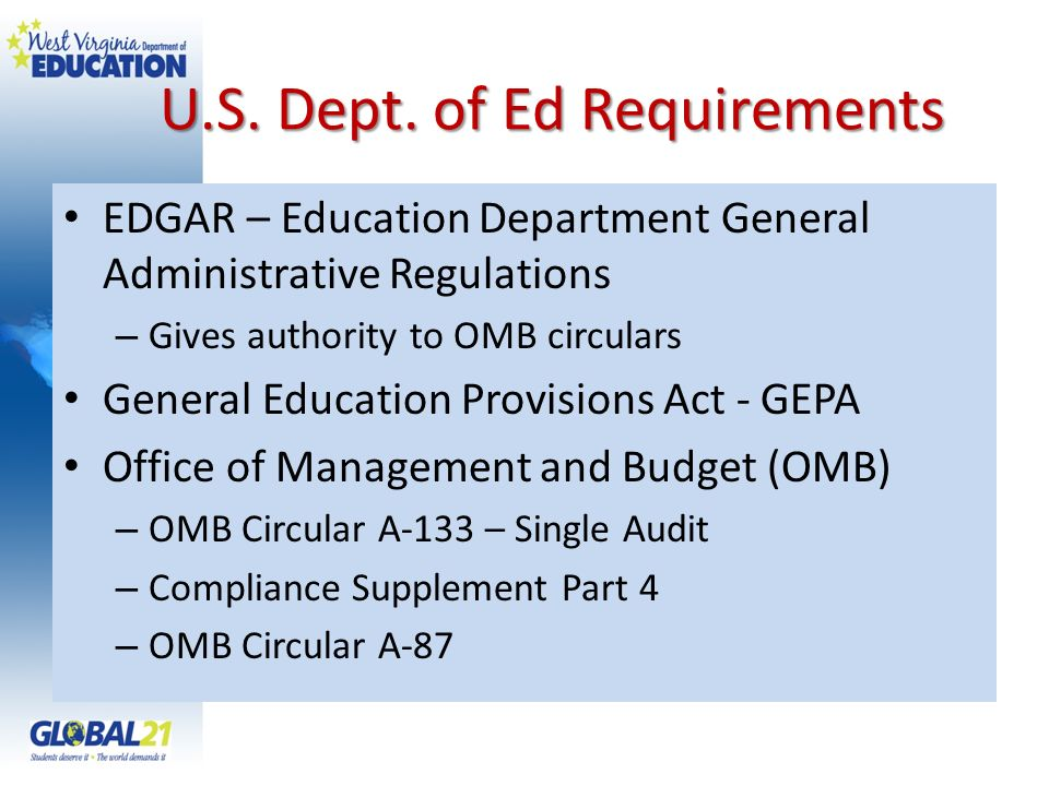 U.S. Dept. of Ed Requirements EDGAR – Education Department General Administrative Regulations – Gives authority to OMB circulars General Education Pro