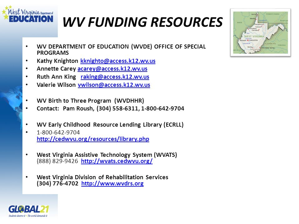 WV FUNDING RESOURCES WV DEPARTMENT OF EDUCATION (WVDE) OFFICE OF SPECIAL PROGRAMS Kathy Knighton kknighto@access.k12.wv.uskknighto@access.k12.wv.us An