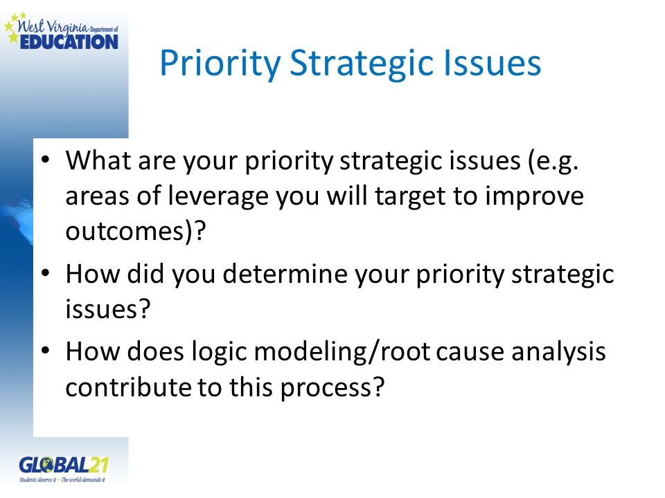 Priority Strategic Issues What are your priority strategic issues (e.g. areas of leverage you will target to improve outcomes)? How did you determine