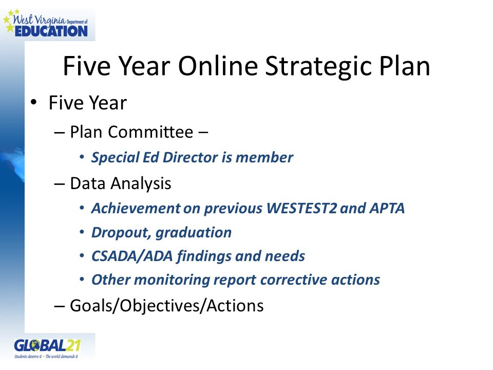 Five Year Online Strategic Plan Five Year – Plan Committee – Special Ed Director is member – Data Analysis Achievement on previous WESTEST2 and APTA D