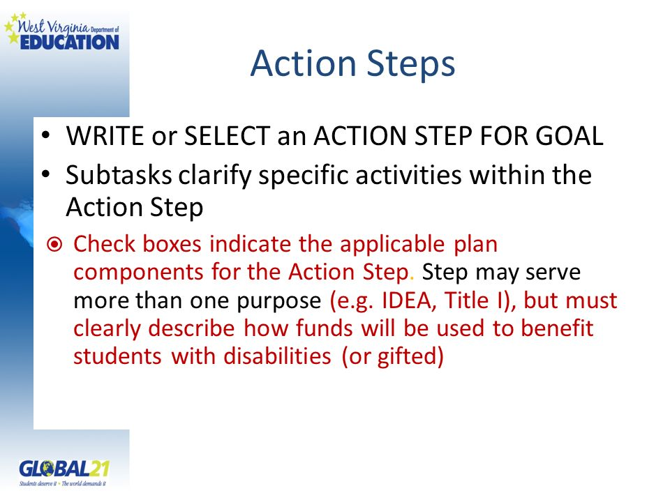 Action Steps WRITE or SELECT an ACTION STEP FOR GOAL Subtasks clarify specific activities within the Action Step Check boxes indicate the applicable p