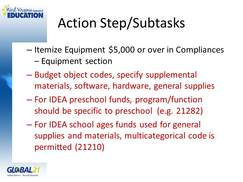 Action Step/Subtasks – Itemize Equipment $5,000 or over in Compliances – Equipment section – Budget object codes, specify supplemental materials, soft