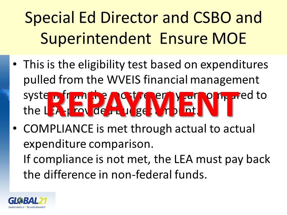 Special Ed Director and CSBO and Superintendent Ensure MOE This is the eligibility test based on expenditures pulled from the WVEIS financial manageme