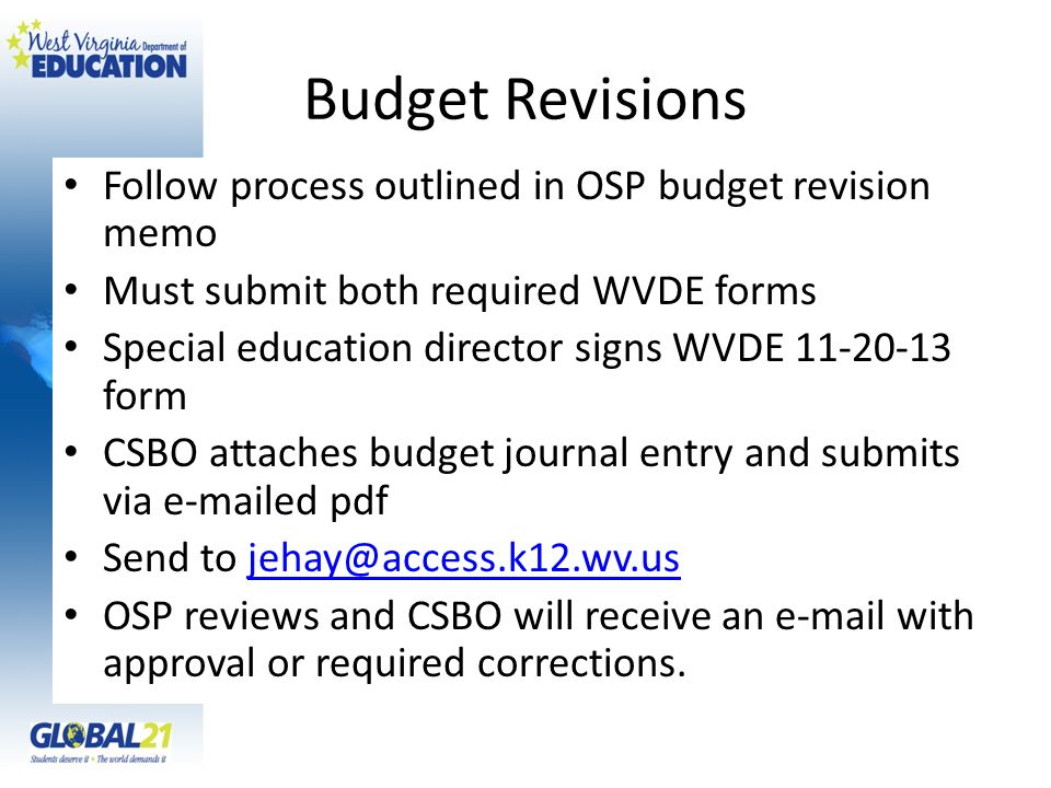 Budget Revisions Follow process outlined in OSP budget revision memo Must submit both required WVDE forms Special education director signs WVDE 11-20-