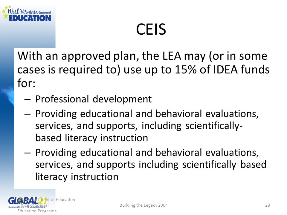 CEIS With an approved plan, the LEA may (or in some cases is required to) use up to 15% of IDEA funds for: – Professional development – Providing educ
