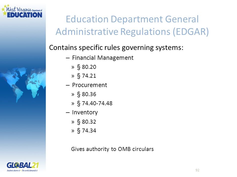 Education Department General Administrative Regulations (EDGAR) Contains specific rules governing systems: – Financial Management » § 80.20 » § 74.21