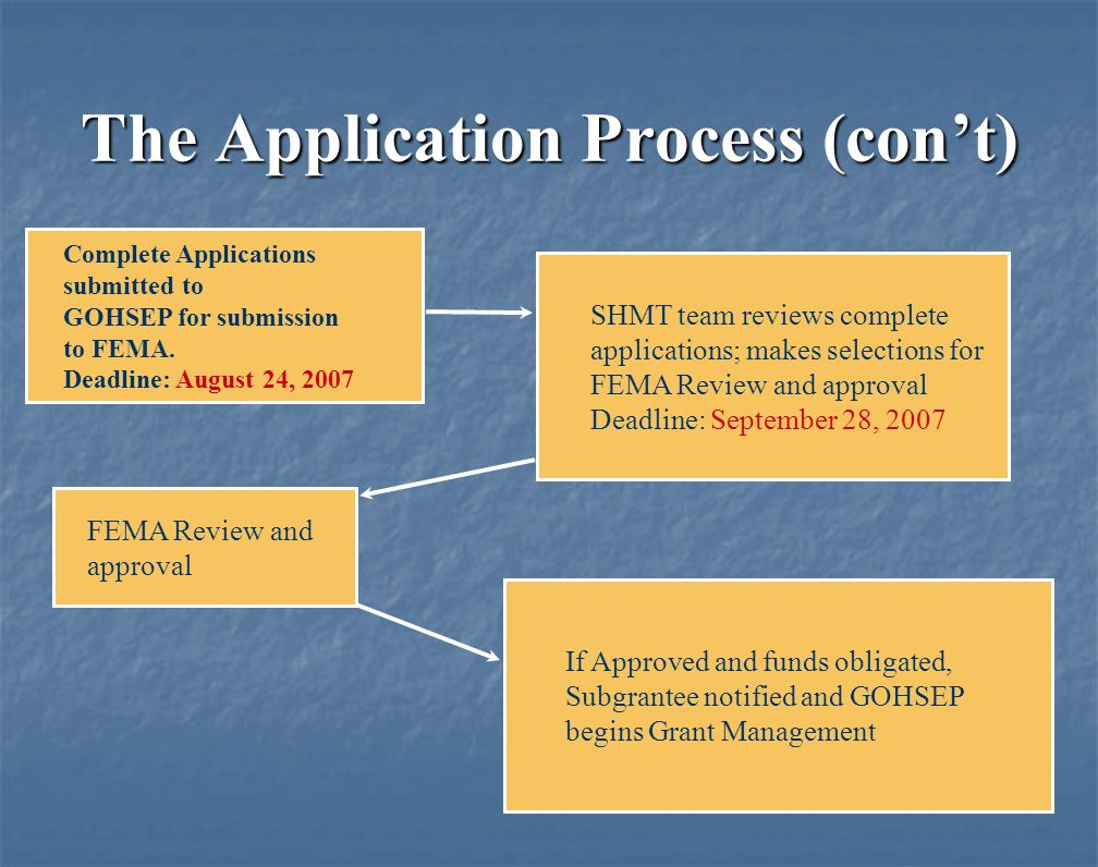 The Application Process (cont) If Approved and funds obligated, Subgrantee notified and GOHSEP begins Grant Management Complete Applications submitted to GOHSEP for submission to FEMA.