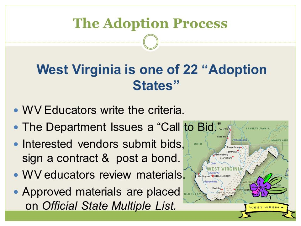 The Adoption Process West Virginia is one of 22 Adoption States WV Educators write the criteria.