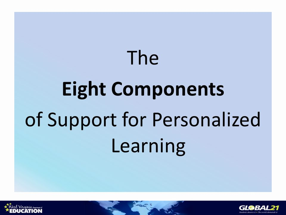 The Eight Components of Support for Personalized Learning