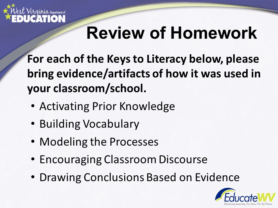 Review of Homework For each of the Keys to Literacy below, please bring evidence/artifacts of how it was used in your classroom/school.
