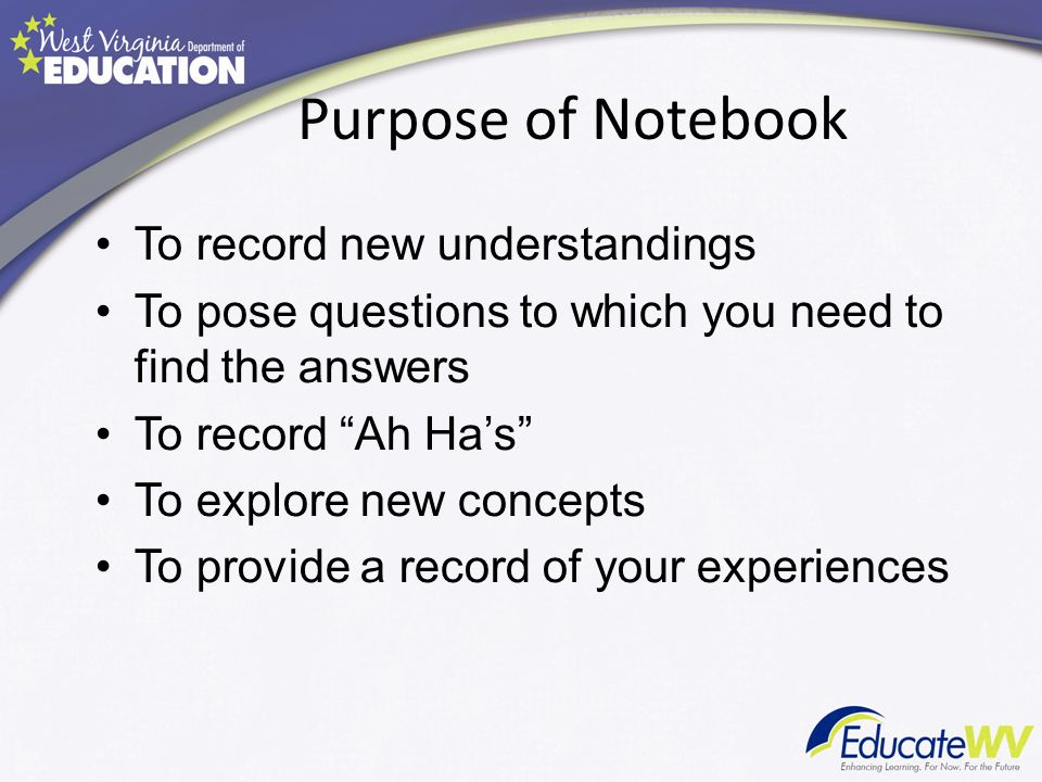 Purpose of Notebook To record new understandings To pose questions to which you need to find the answers To record Ah Has To explore new concepts To provide a record of your experiences