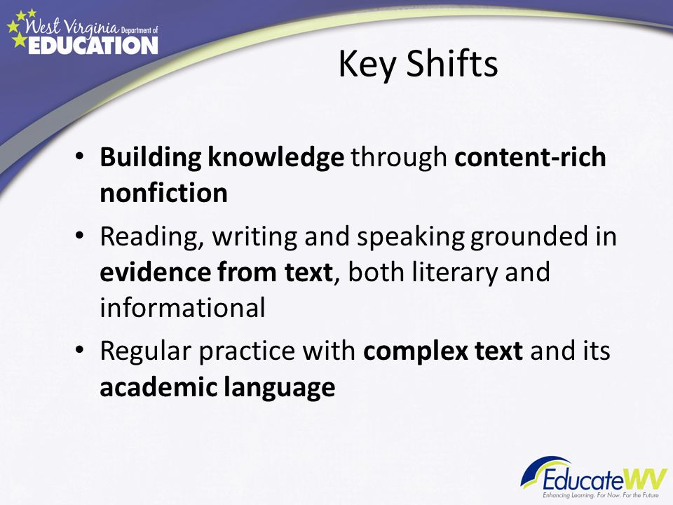 Key Shifts Building knowledge through content-rich nonfiction Reading, writing and speaking grounded in evidence from text, both literary and informational Regular practice with complex text and its academic language