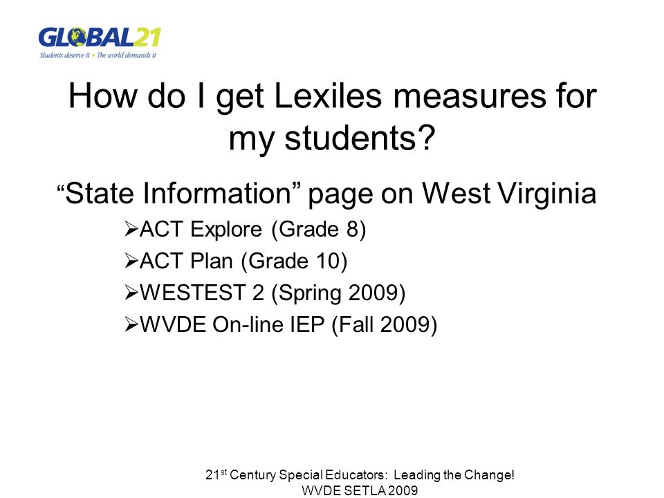 21 st Century Special Educators: Leading the Change! WVDE SETLA 2009 How do I get Lexiles measures for my students? State Information page on West Vir