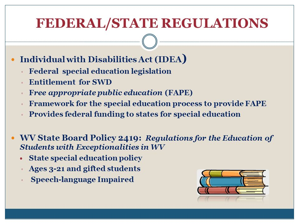 FEDERAL/STATE REGULATIONS Individual with Disabilities Act (IDEA ) Federal special education legislation Entitlement for SWD Free appropriate public education (FAPE) Framework for the special education process to provide FAPE Provides federal funding to states for special education WV State Board Policy 2419: Regulations for the Education of Students with Exceptionalities in WV State special education policy Ages 3-21 and gifted students Speech-language Impaired