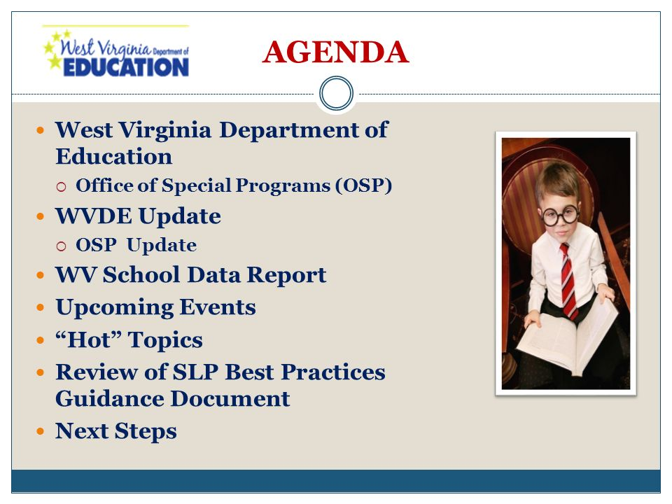 AGENDA West Virginia Department of Education Office of Special Programs (OSP) WVDE Update OSP Update WV School Data Report Upcoming Events Hot Topics Review of SLP Best Practices Guidance Document Next Steps