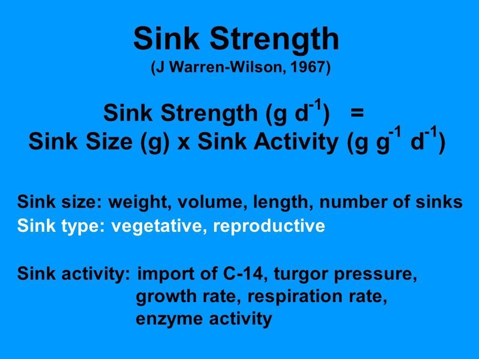 Sink Strength (J Warren-Wilson, 1967) Sink Strength (g d ) = Sink Size (g) x Sink Activity (g g d ) Sink size: weight, volume, length, number of sinks Sink type: vegetative, reproductive Sink activity: import of C-14, turgor pressure, growth rate, respiration rate, enzyme activity