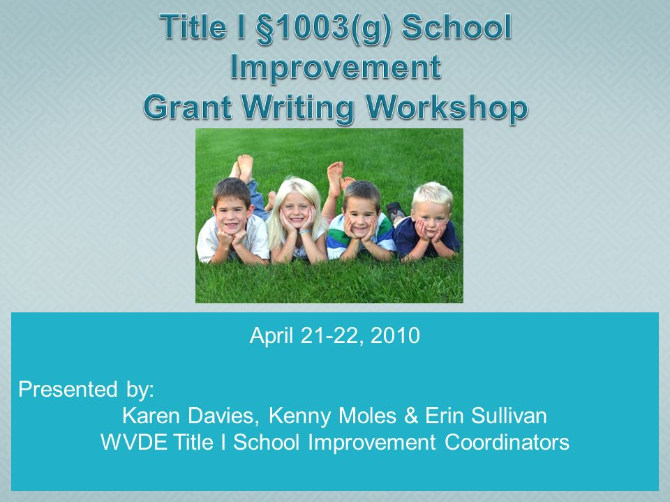 April 21-22, 2010 Presented by: Karen Davies, Kenny Moles & Erin Sullivan WVDE Title I School Improvement Coordinators