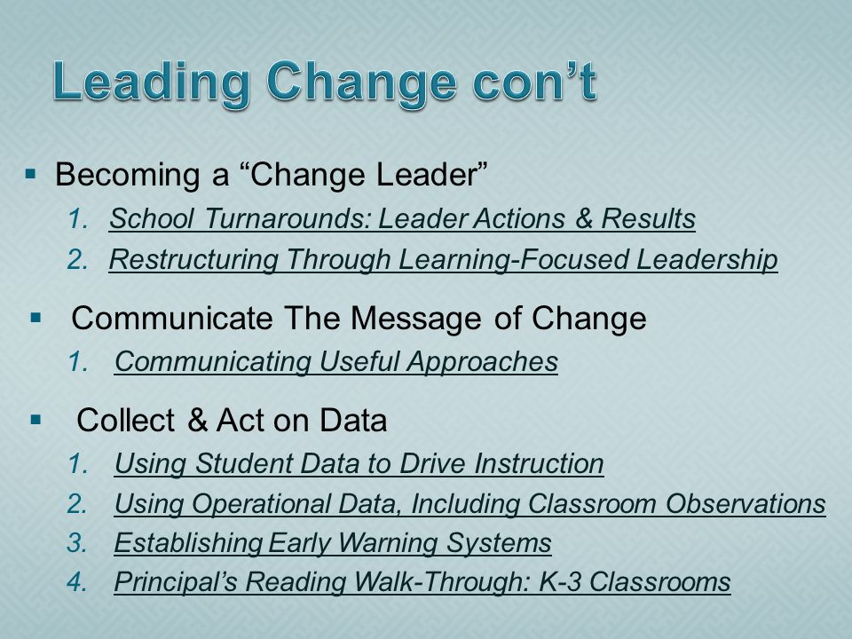 Becoming a Change Leader 1.School Turnarounds: Leader Actions & ResultsSchool Turnarounds: Leader Actions & Results 2.Restructuring Through Learning-F