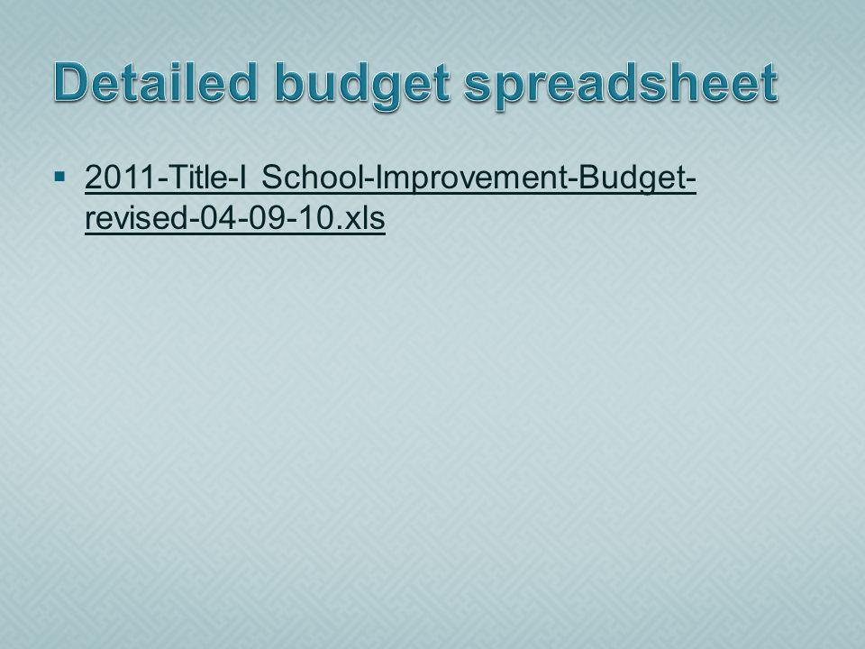 2011-Title-I School-Improvement-Budget- revised-04-09-10.xls 2011-Title-I School-Improvement-Budget- revised-04-09-10.xls