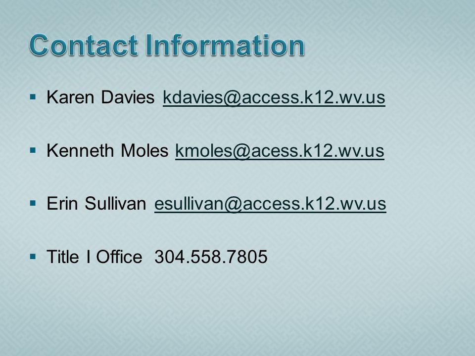 Karen Davies kdavies@access.k12.wv.uskdavies@access.k12.wv.us Kenneth Moles kmoles@acess.k12.wv.uskmoles@acess.k12.wv.us Erin Sullivan esullivan@access.k12.wv.usesullivan@access.k12.wv.us Title I Office 304.558.7805