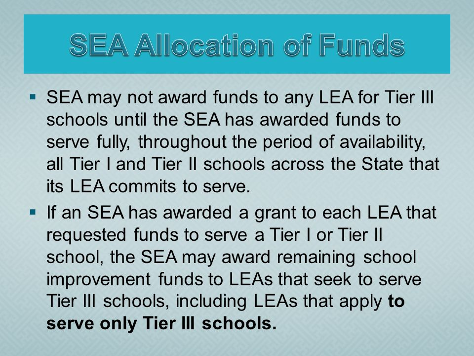 SEA may not award funds to any LEA for Tier III schools until the SEA has awarded funds to serve fully, throughout the period of availability, all Tier I and Tier II schools across the State that its LEA commits to serve.
