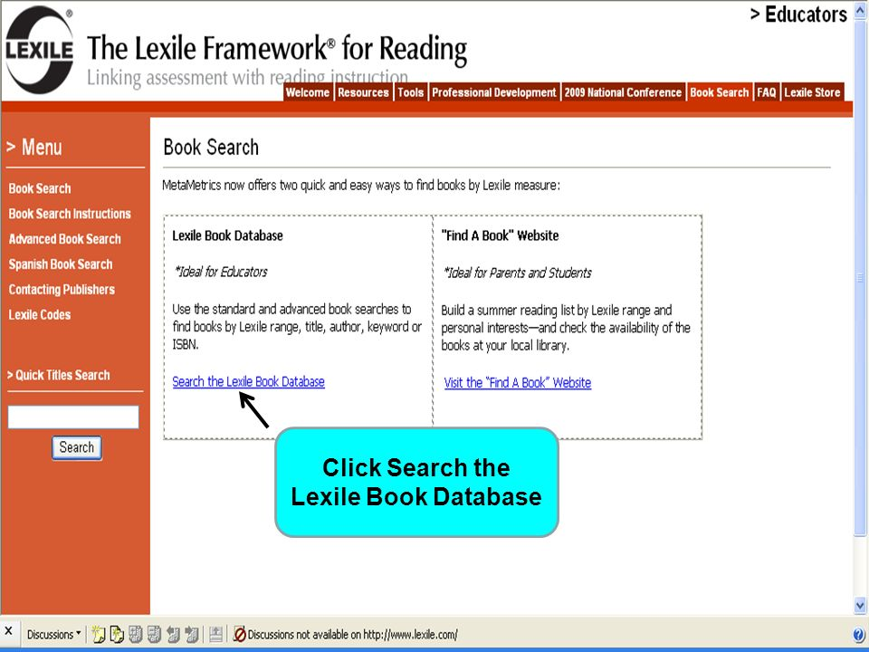 Click Search the Lexile Book Database