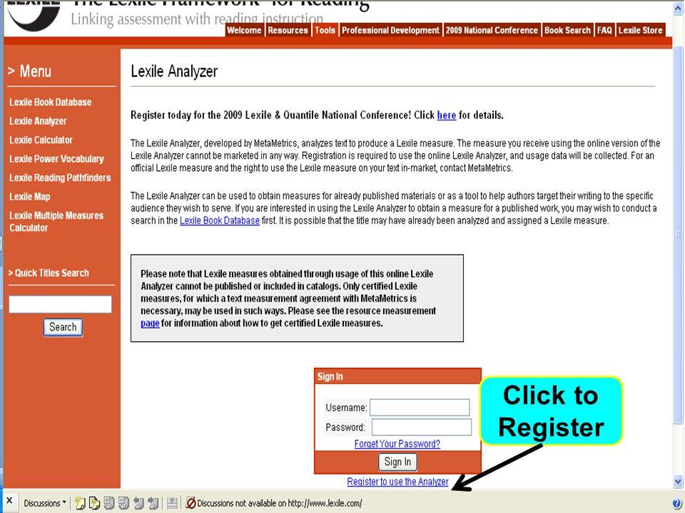 Lexile Analyzer: Managing Comprehension Click to Register