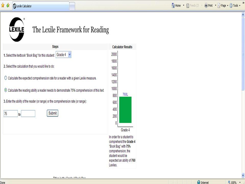 Lexile Calculator Results