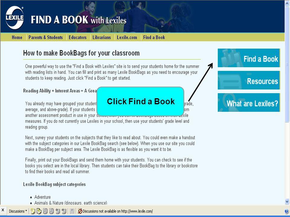 Click on Educators Link Click Find a Book