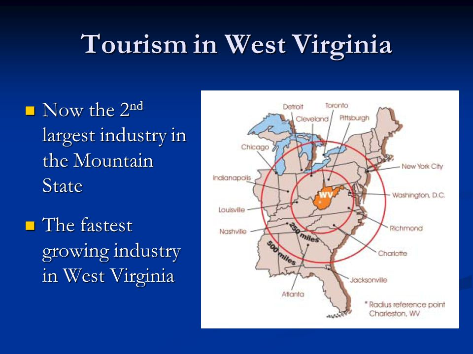 Tourism in West Virginia Now the 2 nd largest industry in the Mountain State Now the 2 nd largest industry in the Mountain State The fastest growing industry in West Virginia The fastest growing industry in West Virginia