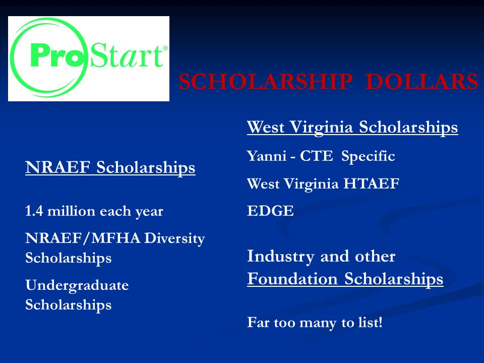 SCHOLARSHIP DOLLARS NRAEF Scholarships 1.4 million each year NRAEF/MFHA Diversity Scholarships Undergraduate Scholarships West Virginia Scholarships Yanni - CTE Specific West Virginia HTAEF EDGE Industry and other Foundation Scholarships Far too many to list!
