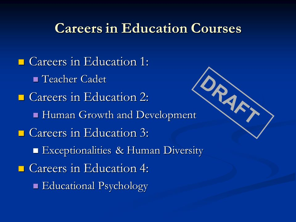 Careers in Education Courses Careers in Education 1: Careers in Education 1: Teacher Cadet Teacher Cadet Careers in Education 2: Careers in Education 2: Human Growth and Development Human Growth and Development Careers in Education 3: Careers in Education 3: Exceptionalities & Human Diversity Exceptionalities & Human Diversity Careers in Education 4: Careers in Education 4: Educational Psychology Educational Psychology DRAFT