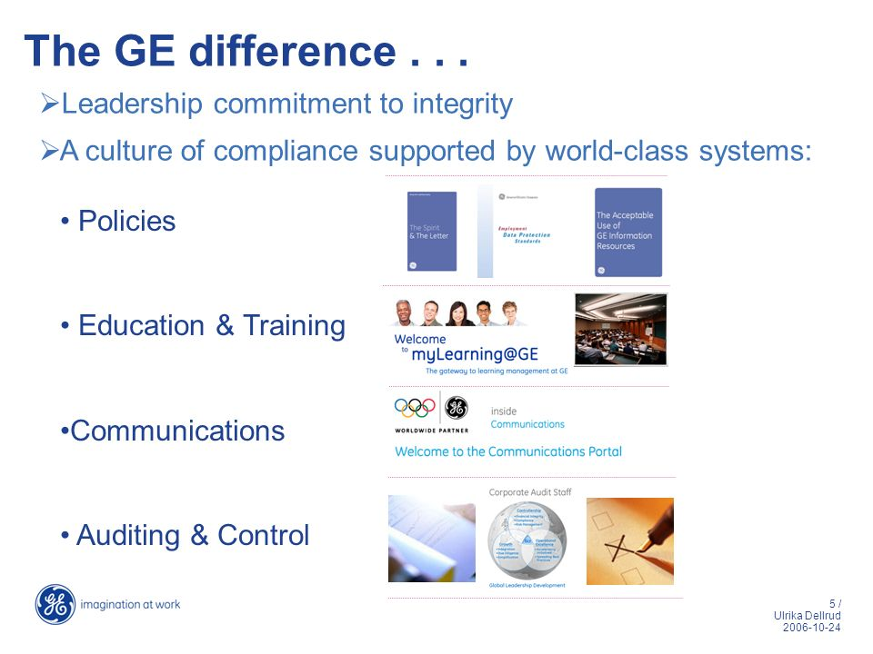 5 / Ulrika Dellrud 2006-10-24 The GE difference... Leadership commitment to integrity A culture of compliance supported by world-class systems: Polici
