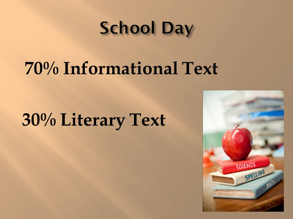 75% Literary Text 25% Informational Text