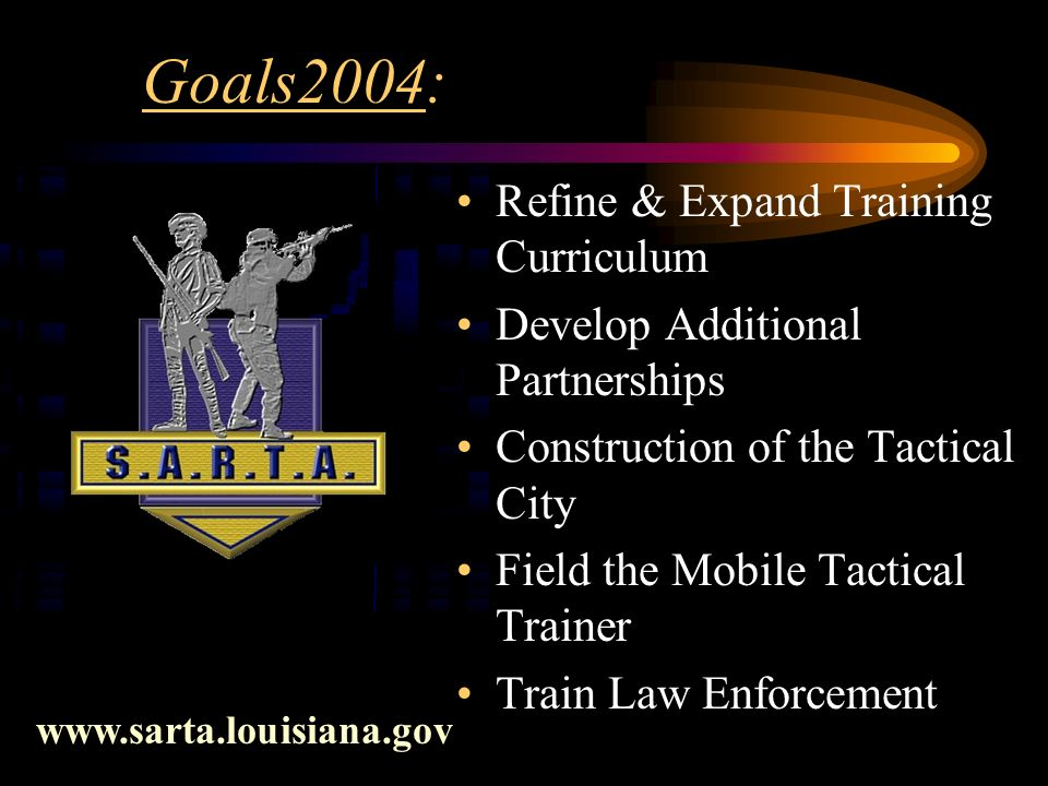 Goals2004: Refine & Expand Training Curriculum Develop Additional Partnerships Construction of the Tactical City Field the Mobile Tactical Trainer Train Law Enforcement www.sarta.louisiana.gov