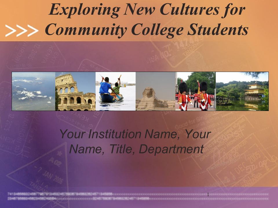 1 Exploring New Cultures for Community College Students Your Institution Name, Your Name, Title, Department