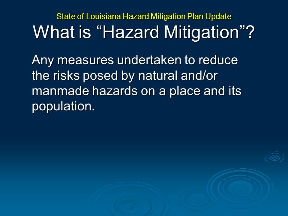 State of Louisiana Hazard Mitigation Plan Update Goals, Action Plans and Implementation