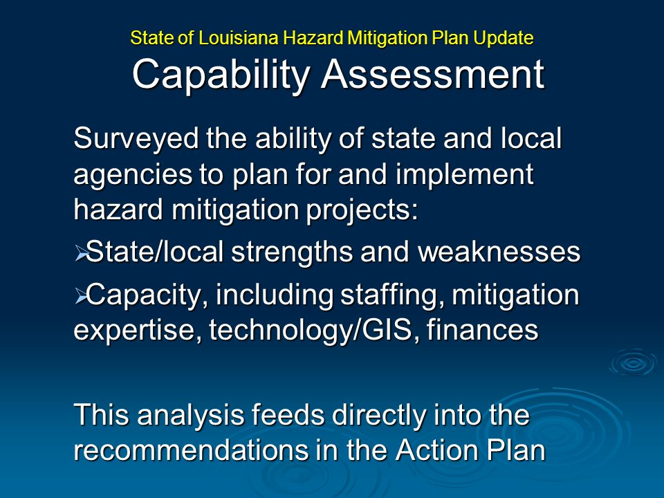 Surveyed the ability of state and local agencies to plan for and implement hazard mitigation projects: State/local strengths and weaknesses State/loca