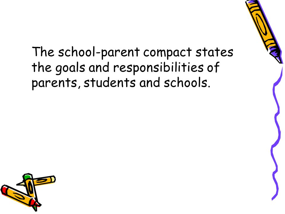 The school-parent compact states the goals and responsibilities of parents, students and schools.