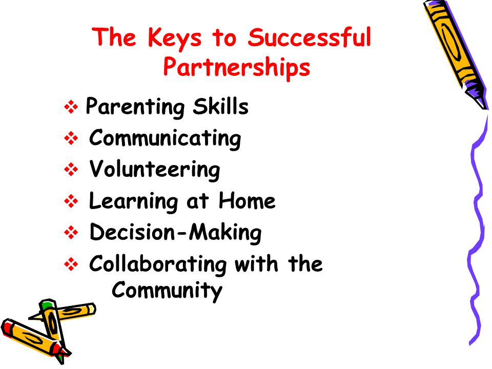 The Keys to Successful Partnerships Parenting Skills Communicating Volunteering Learning at Home Decision-Making Collaborating with the Community