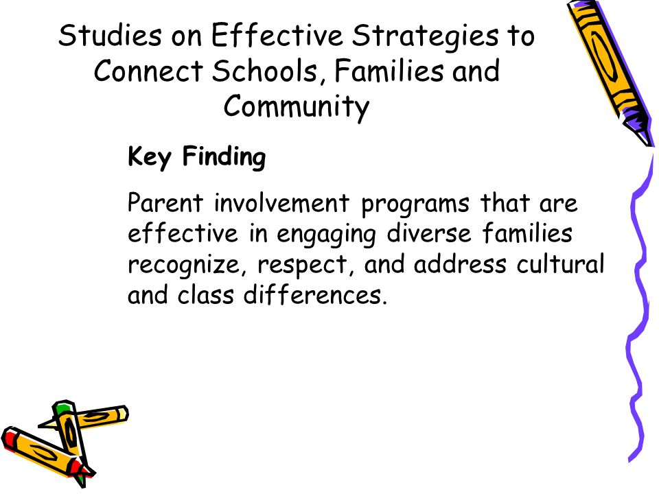 Studies on Effective Strategies to Connect Schools, Families and Community Key Finding Parent involvement programs that are effective in engaging dive