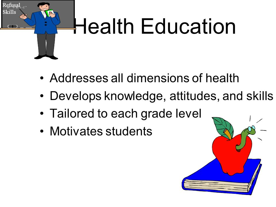 Health Education Addresses all dimensions of health Develops knowledge, attitudes, and skills Tailored to each grade level Motivates students Refusal