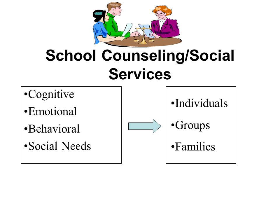 School Counseling/Social Services Individuals Groups Families Cognitive Emotional Behavioral Social Needs