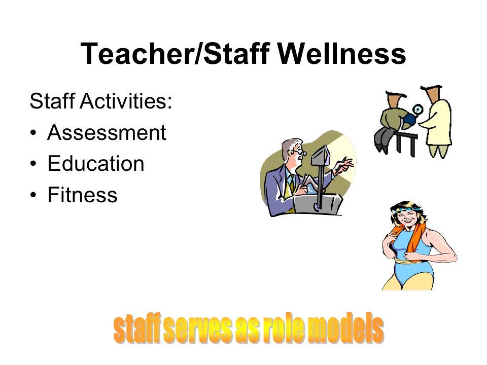 Teacher/Staff Wellness Staff Activities: Assessment Education Fitness