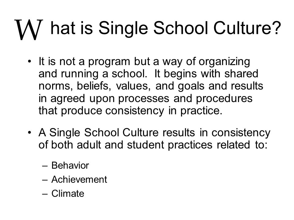 hat is Single School Culture? It is not a program but a way of organizing and running a school. It begins with shared norms, beliefs, values, and goal